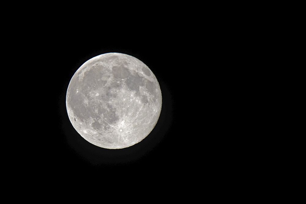 Earth moon, full moon as seen from the northern hemisphere, Germany, Europe