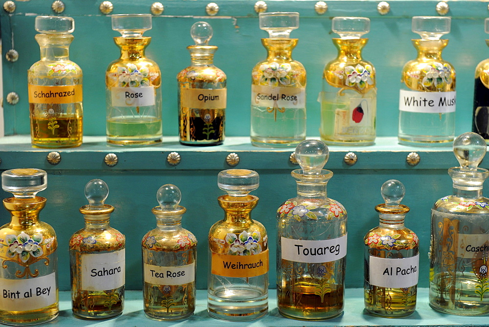 Various oriental fragrance essences in oriental bottles