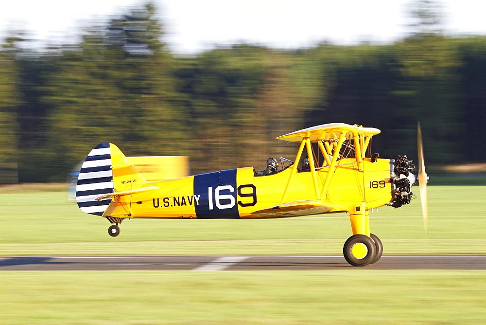 Vintage biplane, Boeing Stearman, Breitscheid Airshow 2010, Hesse, Germany, Europe