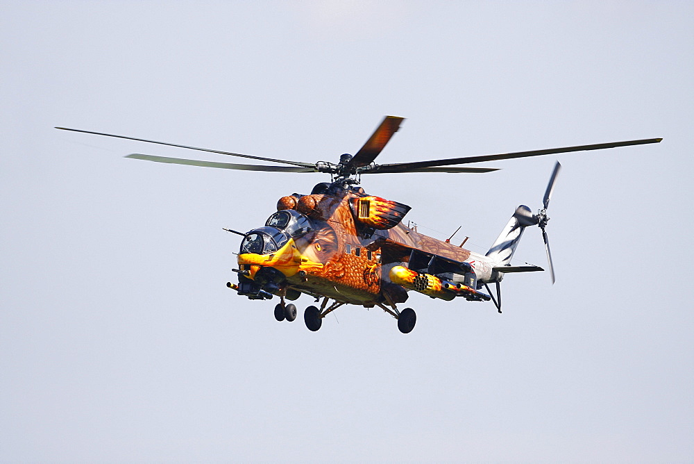 MIL MI-24 Hind, Russian attack helicopter from the Hungarian Air Force painted like an eagle, Breitscheid Airshow 2010, Hesse, Germany, Europe