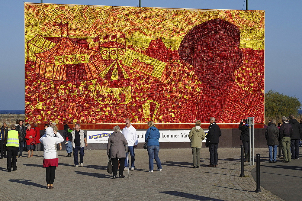 Celebration of the apple with a large apple picture in Kivik, Sweden, Europe