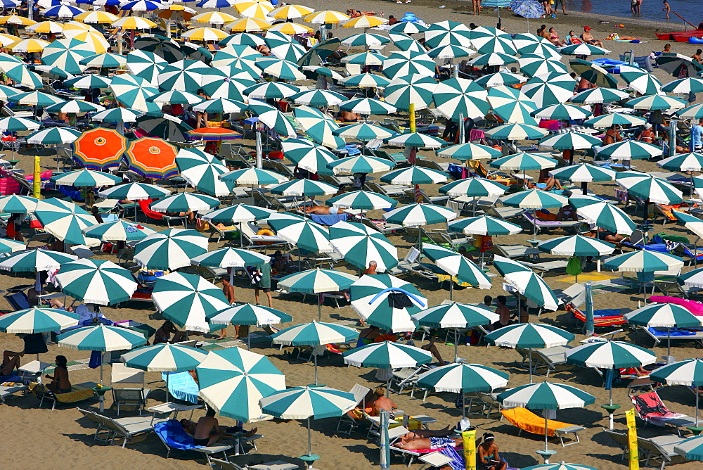 Parasols and sun loungers, mass tourism on the beach of Caorle, Adriatic Sea, Italy, Europe