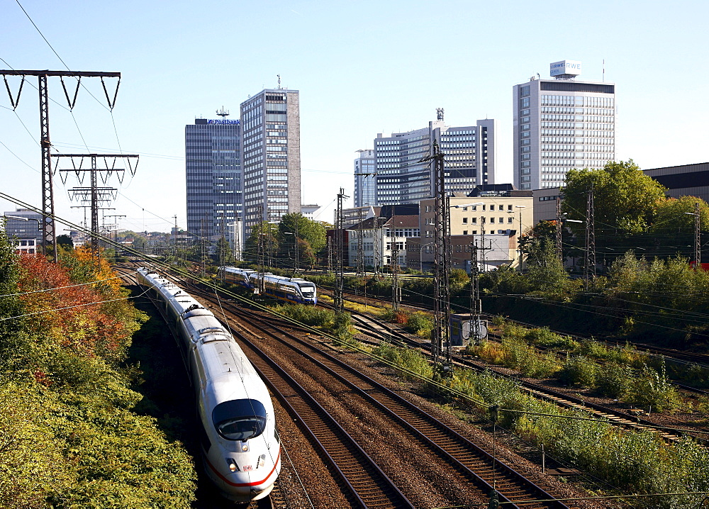 Essen city centre, skyline with various administrative and corporate buildings of large companies such as RWE and EVONIK, ICE Intercity-Express railway tracks of Essen central station, Essen, North Rhine-Westphalia, Germany, Europe