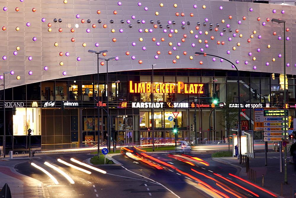 Limbecker Platz shopping center, completed in 2009, Essen city centre, illuminated facade on Berliner Platz square, Essen, North Rhine-Westphalia, Germany, Europe