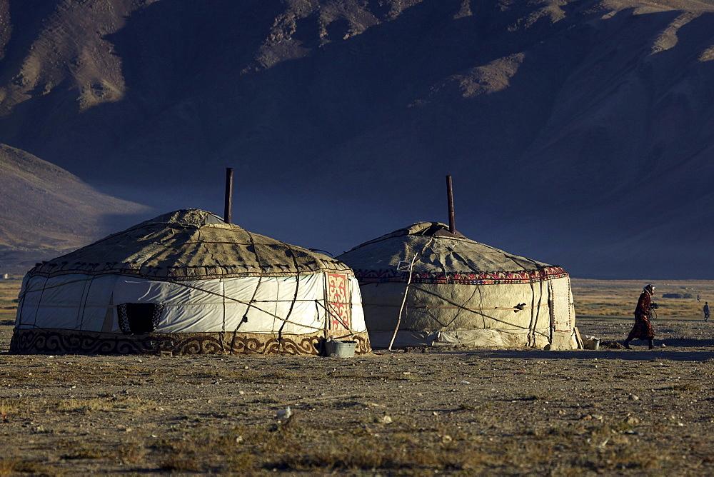 Yurts in Bulunkul, Pamir mountain range, Tajikistan, Central Asia