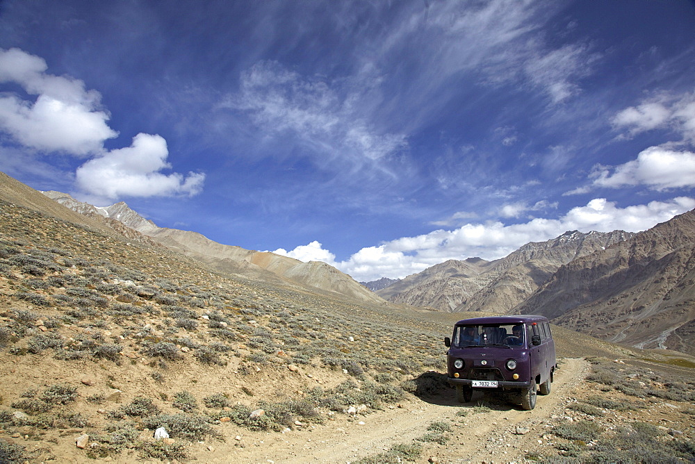 UAZ off-road vehicle bus, Pamir mountain range, Tajikistan, Central Asia