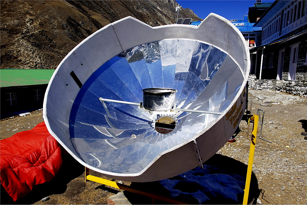 Solar mirror for heating water, Gokyo, Khumbu, Sagarmatha National Park, Nepal, Asia