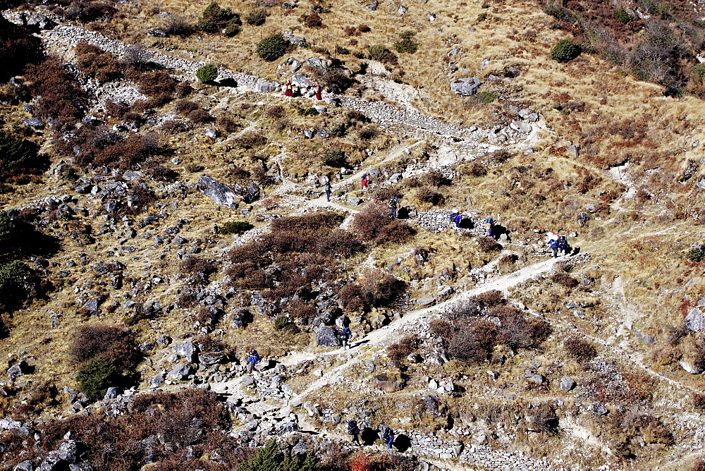 Serpentines on the ascent to Thame, Khumbu, Sagarmatha National Park, Nepal, Asia