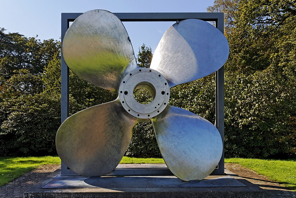 Ship propeller made of Krupp Nirosta stainless-steel, V2A, Villa Huegel, Essen-Baldeney, North Rhine-Westphalia, Germany, Europe