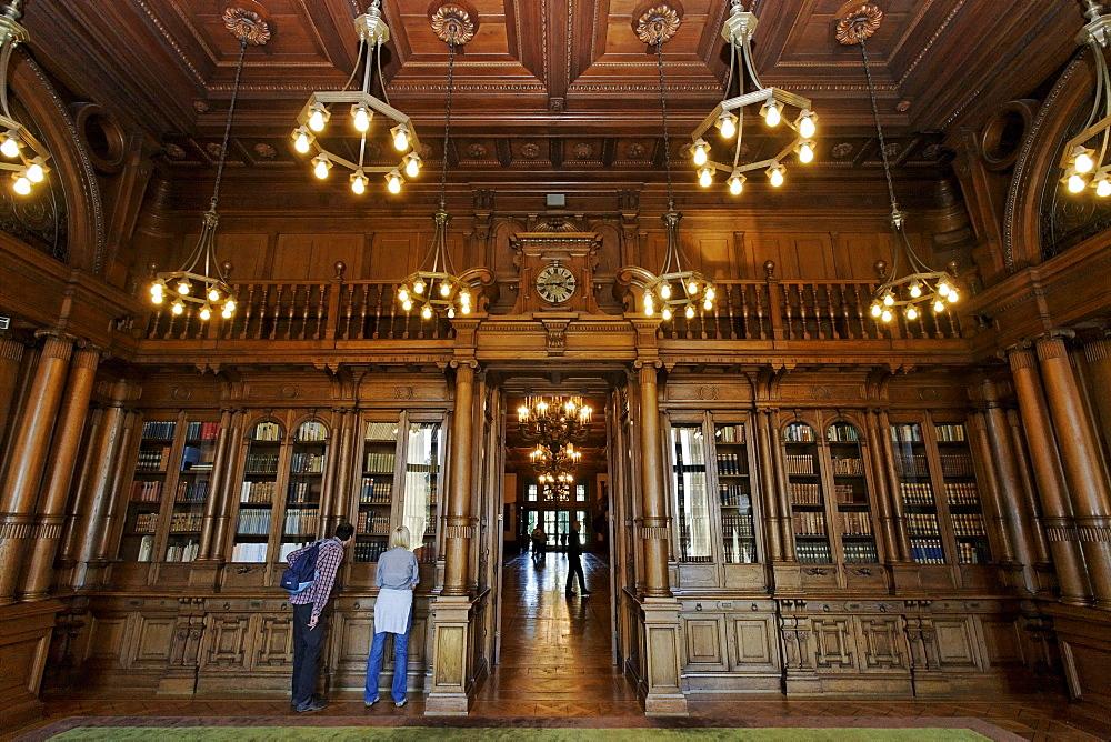Library with wood paneling, Villa Huegel, former home of the Krupp family, Essen-Baldeney, North Rhine-Westphalia, Germany, Europe