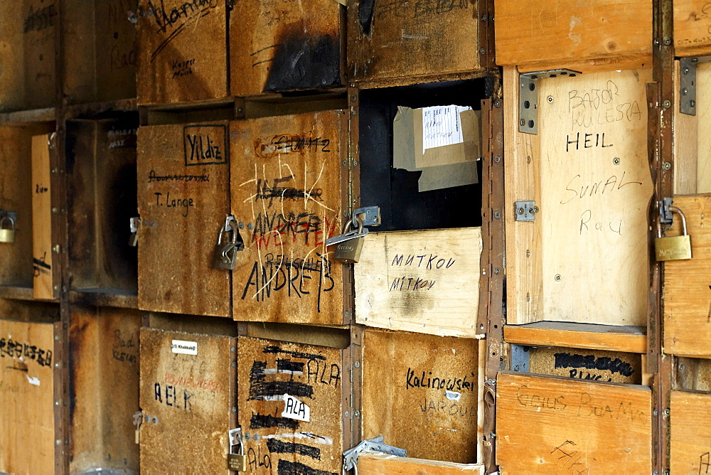 Dilapidated post boxes in a condemned house, Bruckhausen district, Duisburg, North Rhine-Westphalia, Germany, Europe