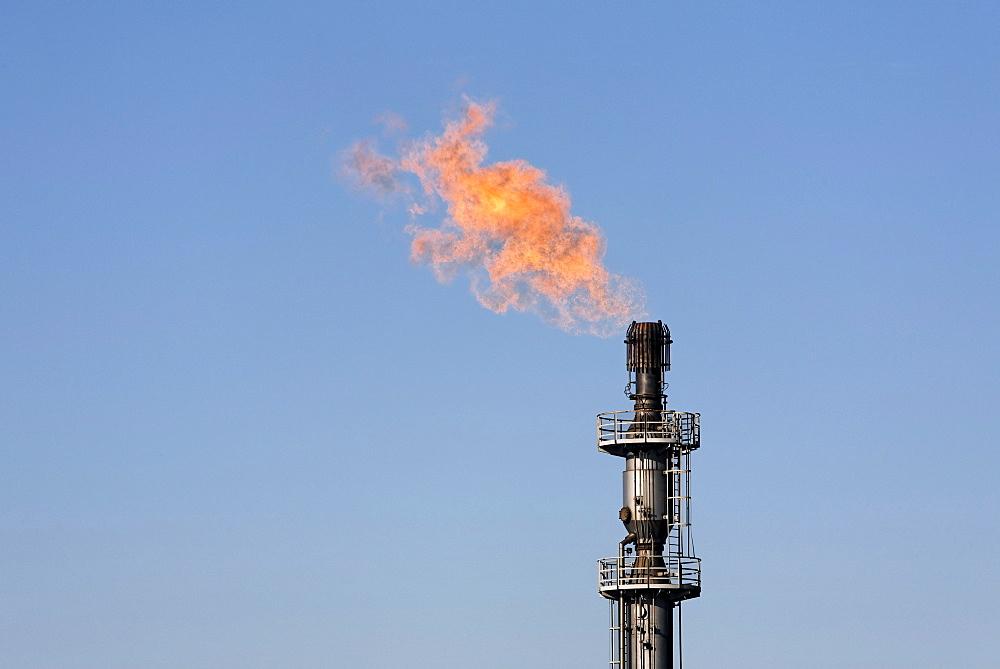 Gas torch of the Schwelgern coking plant, ThyssenKrupp Steel, factory in Bruckhausen, Duisburg, North Rhine-Westphalia, Germany, Europe