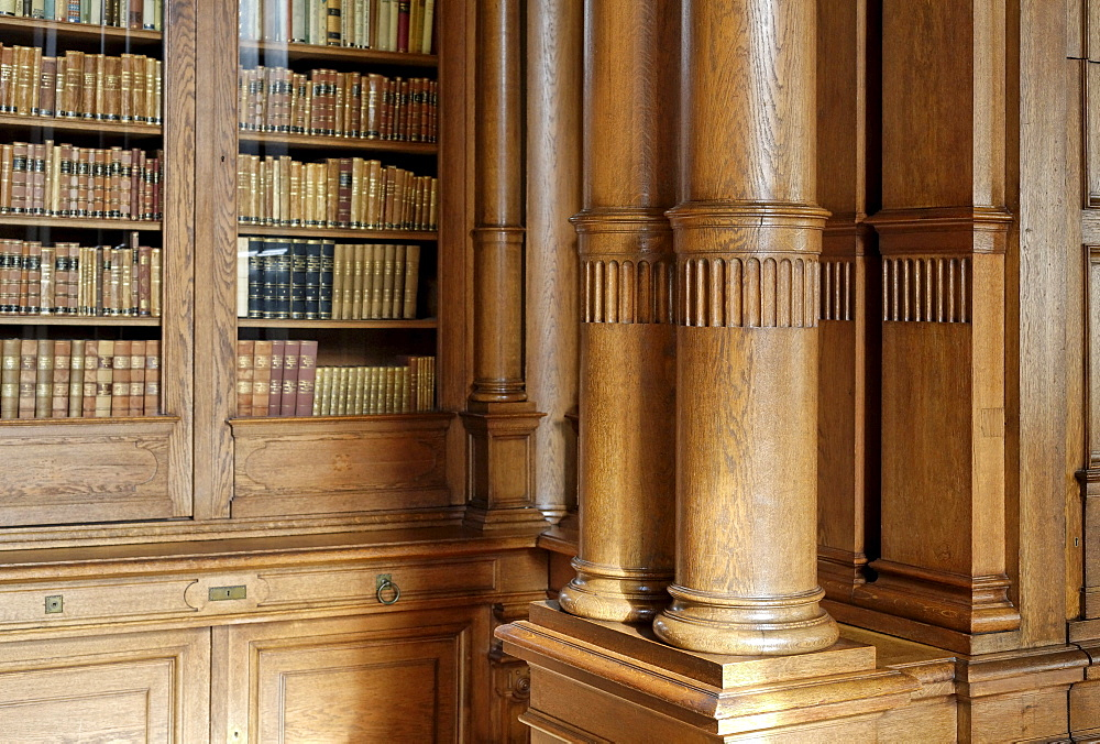 Gruenderzeit-style library with wood panels, 19th century, Villa Huegel mansion, former residence of the Krupp family, Baldeney district, Essen, North Rhine-Westphalia, Germany, Europe