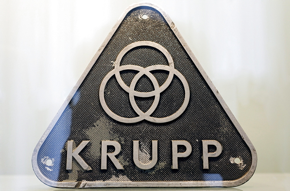 Historic Krupp badge with the Krupp symbol, three rings, Villa Huegel mansion, Baldeney district, Essen, North Rhine-Westphalia, Germany, Europe