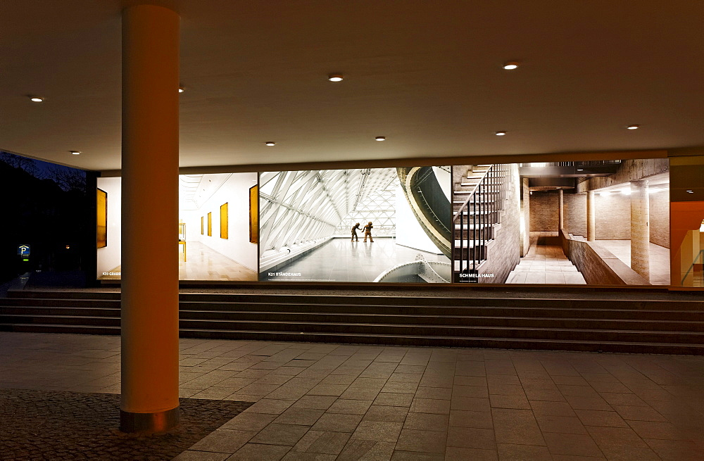 Kunstsammlung Nordrhein-Westfalen arts collection, entrance area, back-lit art, K20 building, K21 building, Schmela-Haus building, Duesseldorf, North Rhine-Westphalia, Germany, Europe