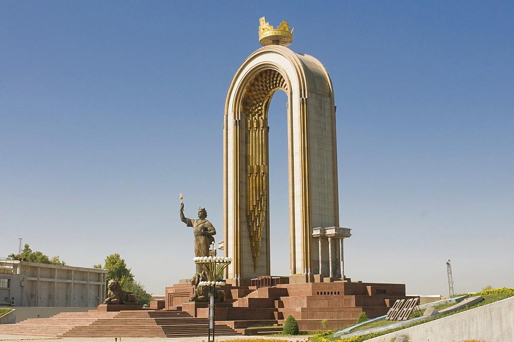 Statue, memorial to Ismail Samani or Ismoili Somoni, Dushanbe, Tajikistan, Central Asia