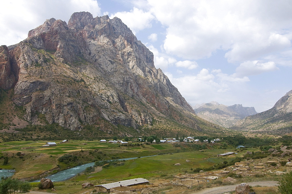 Fan Mountains with river, Iskanderkul, Tajikistan, Central Asia