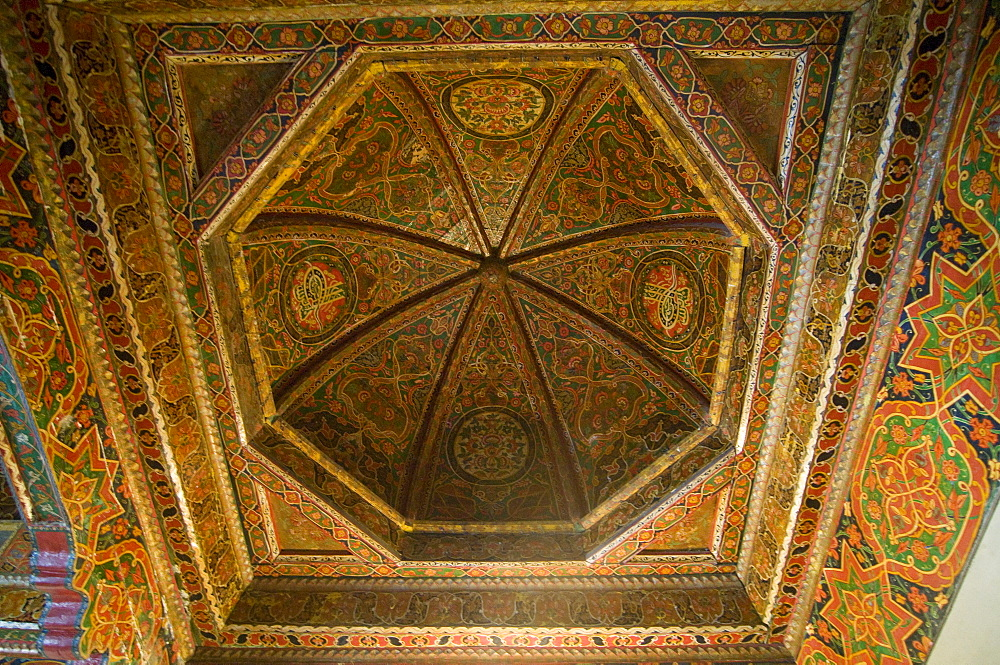 Ceiling paintings of a mosque, Istarvashan, Tajikistan, Central Asia