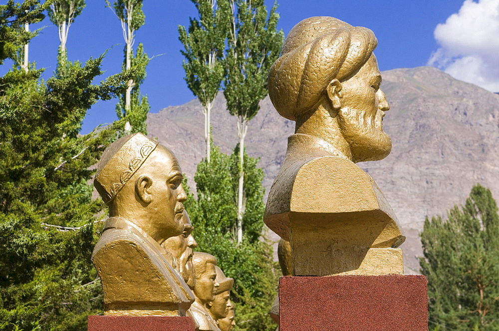 Golden busts of famous men, Khorog, Pamir Mountains, Tajikistan, Central Asia