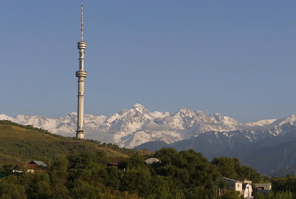 Television tower of Almaty, Altai Mountains at the back, Kazakhstan, Central Asia