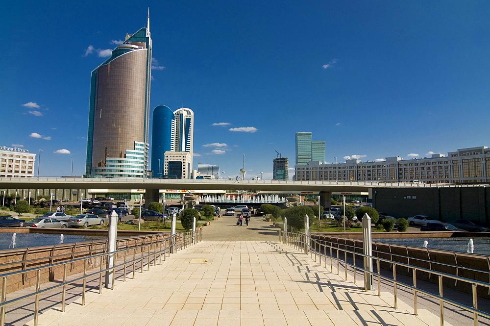 Modern architecture at Bayterek Tower, Astana, Kazakhstan, Central Asia