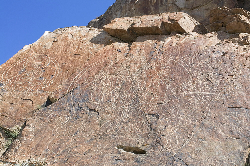 Buddhist rock engravings, Tamagaly Das, Kazakhstan, Central Asia