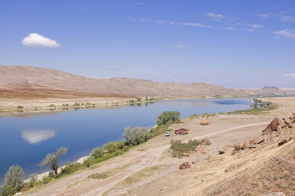 Ily river flowing through a barren landscape, Tamagaly Das, Kazakhstan, Central Asia
