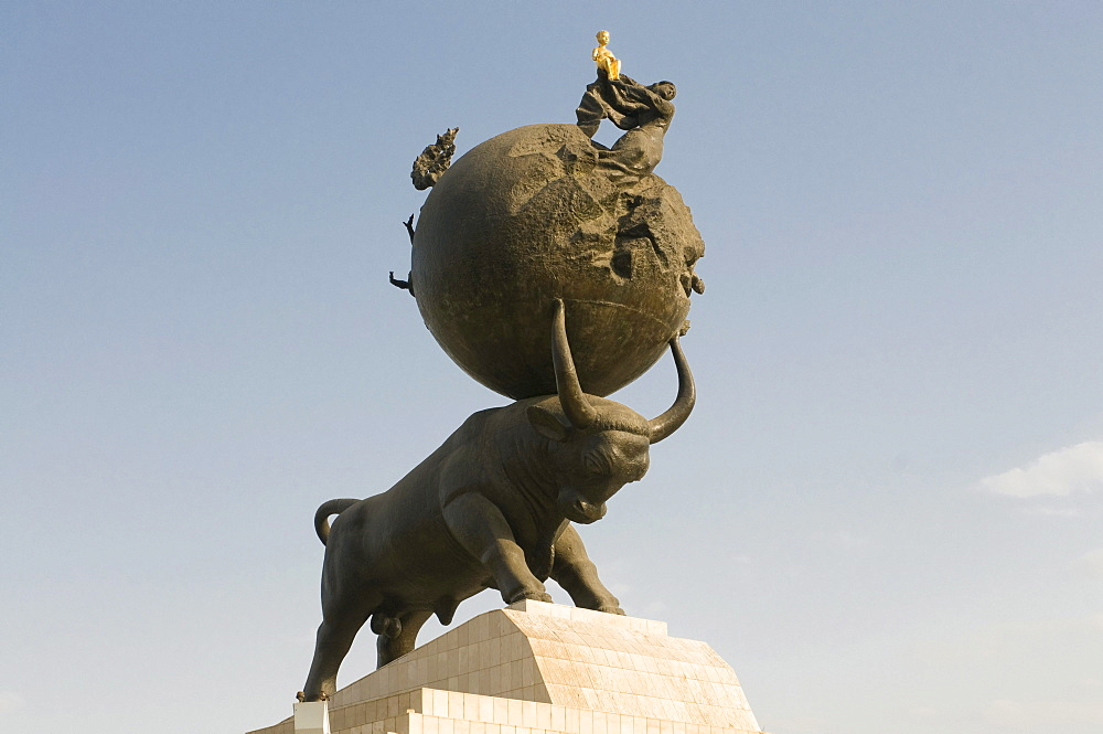 Sculpture of a bull, Ashgabat, Turkmenistan, Central Asia