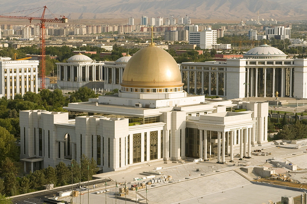 Presidential palace with a dome, Ashgabat, Turkmenistan, Central Asia