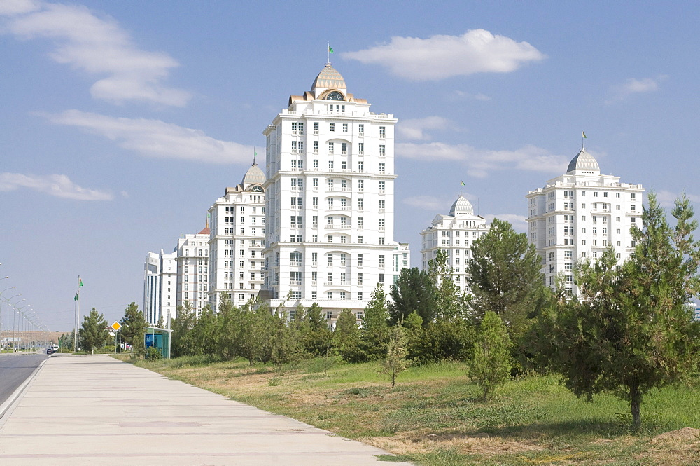 Modern buildings in Ashgabat, Turkmenistan, Central Asia