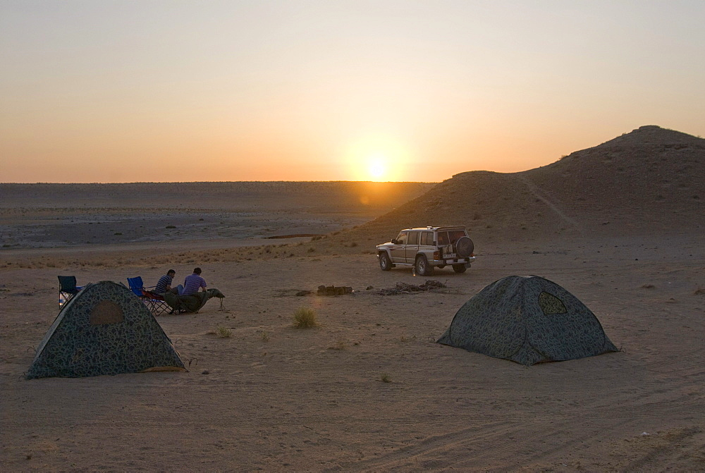 Camp near the Darvaza Gas Crater, Turkmenistan, Central Asia