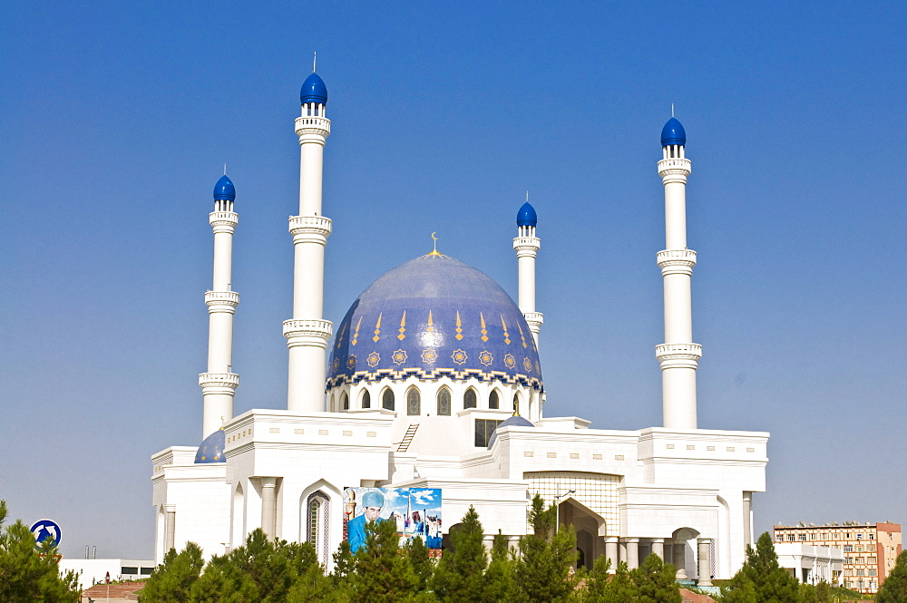 Mosque with four minarets, Mary, Turkmenistan, Central Asia