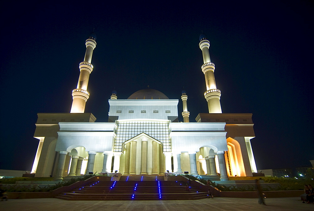 Illuminated mosque at night, Mary, Turkmenistan, Central Asia
