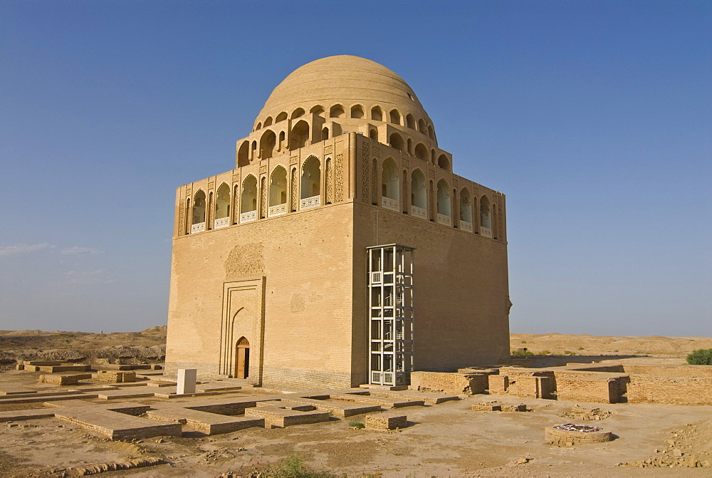 Reconstructed domed mausoleum, Merv, Turkmenistan, Central Asia