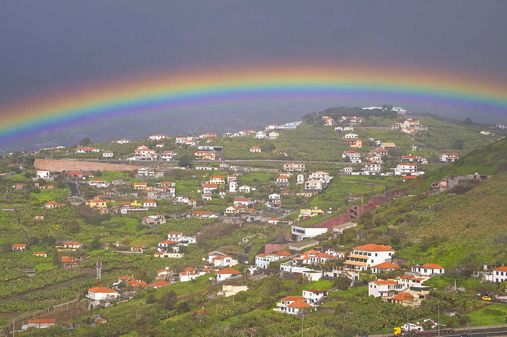 Rainbow over city of Funchal, Madeira, Portugal, Europe