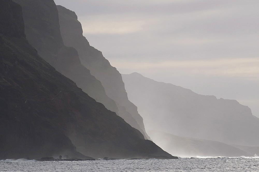 Rocky coast in twilight, San Antao, Cabo Verde, Cape Verde, Africa