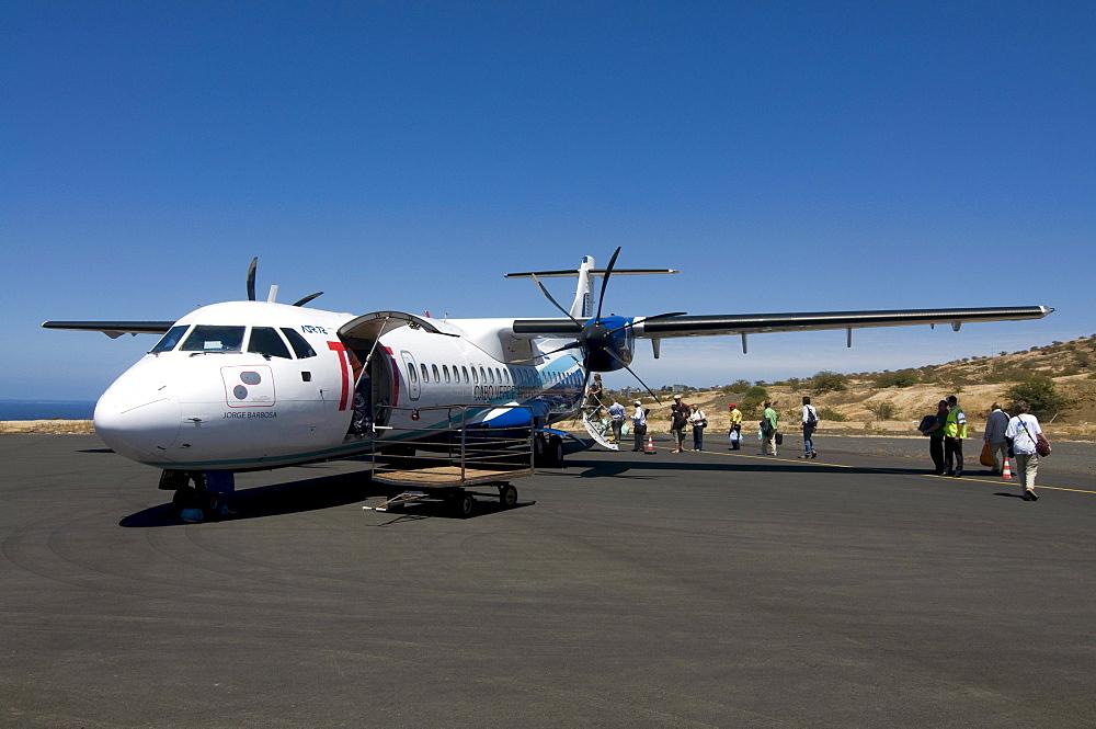 Plane at airport, San Felipe, Fogo, Cabo Verde, Cape Verde, Africa