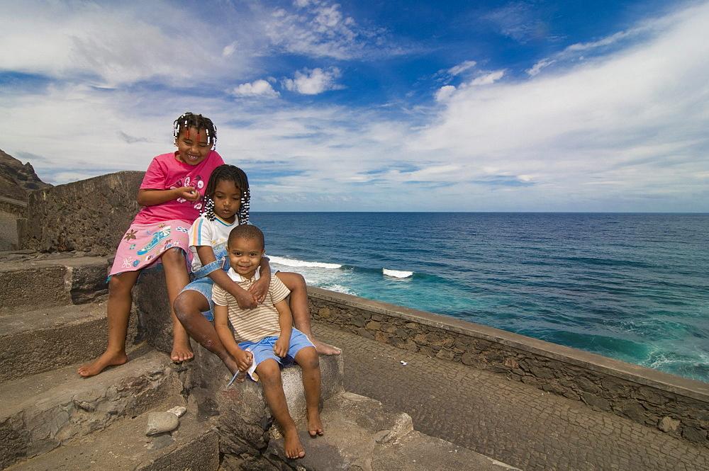 Three smiling children, San Antao, Cabo Verde, Cape Verde, Africa