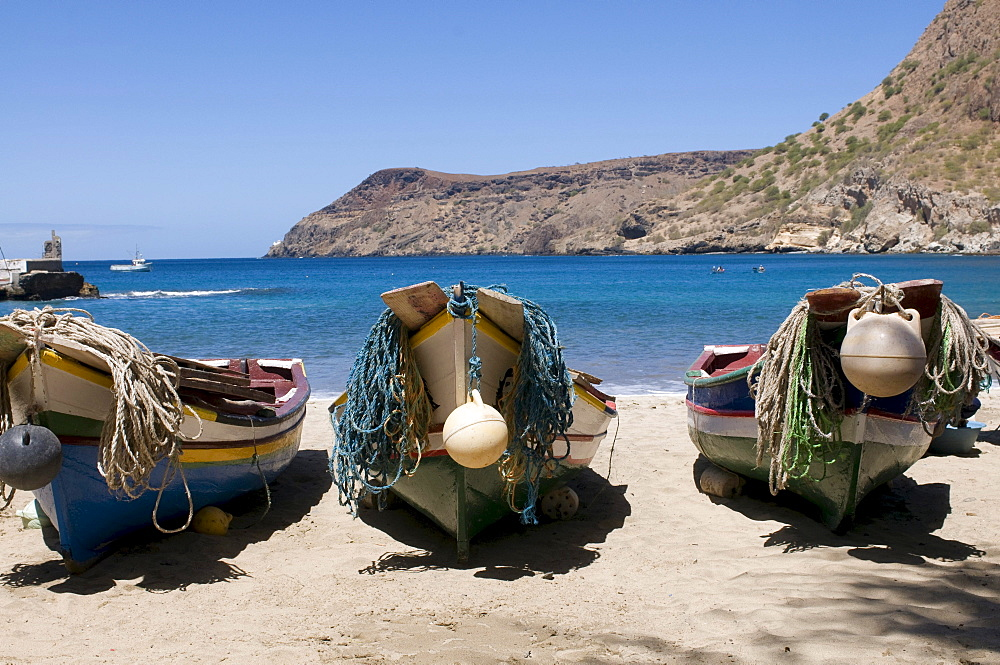 Fishing boats on beach of Tarrafal, Santiago, Cabo Verde, Cape Verde, Africa
