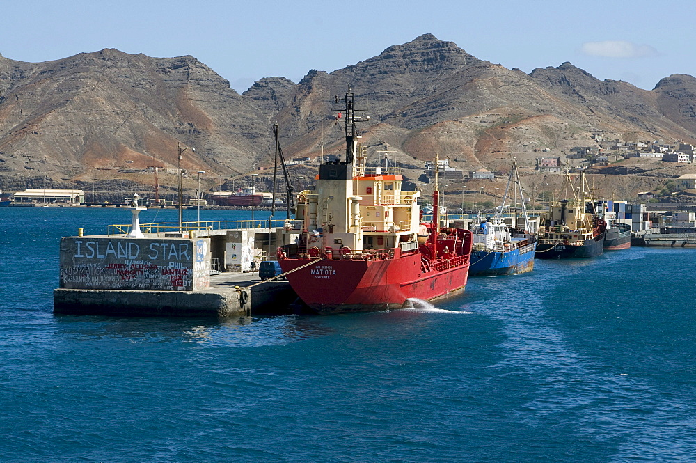 Cargo ships in the harbor, San Vincente, Cabo Verde, Cape Verde, Africa