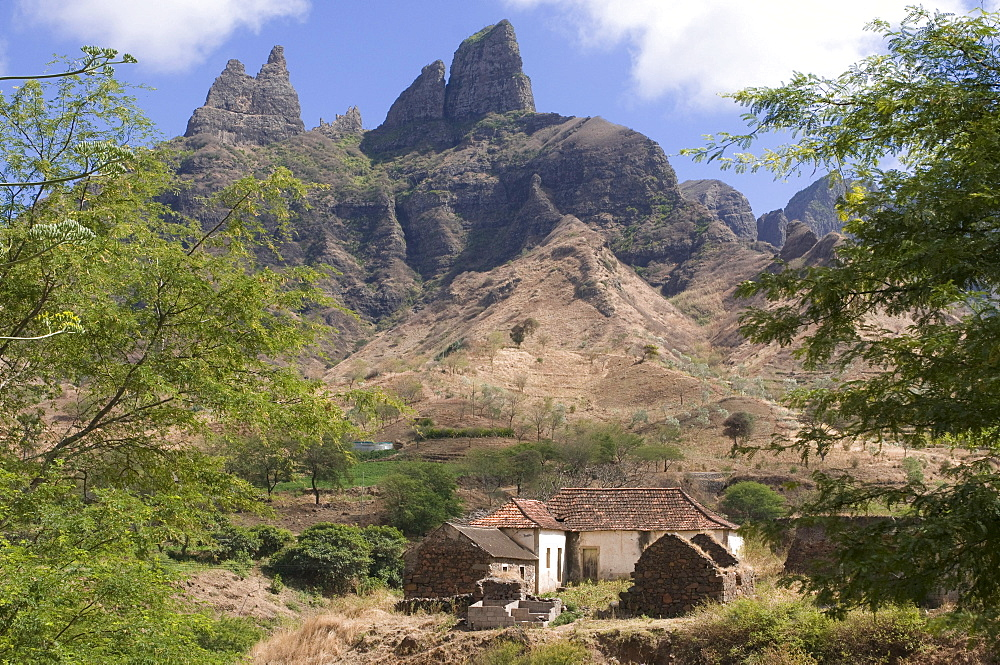 House in mountaineous landscape, Santiago, Cabo Verde, Cape Verde, Africa