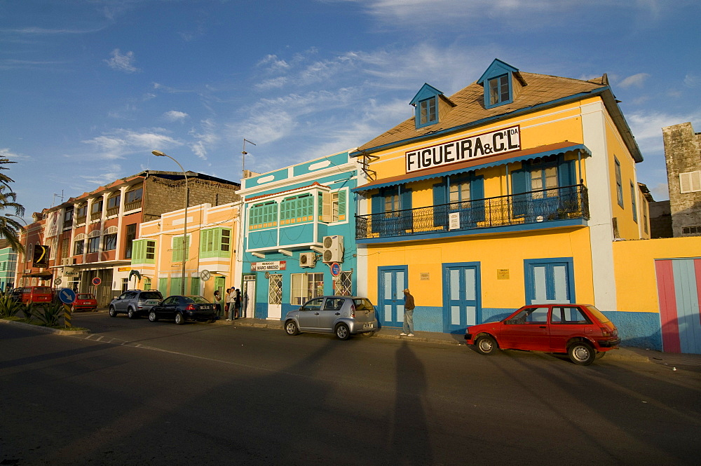 Colourful buildings in San Vincente, Mindelo, Cabo Verde, Cape Verde, Africa