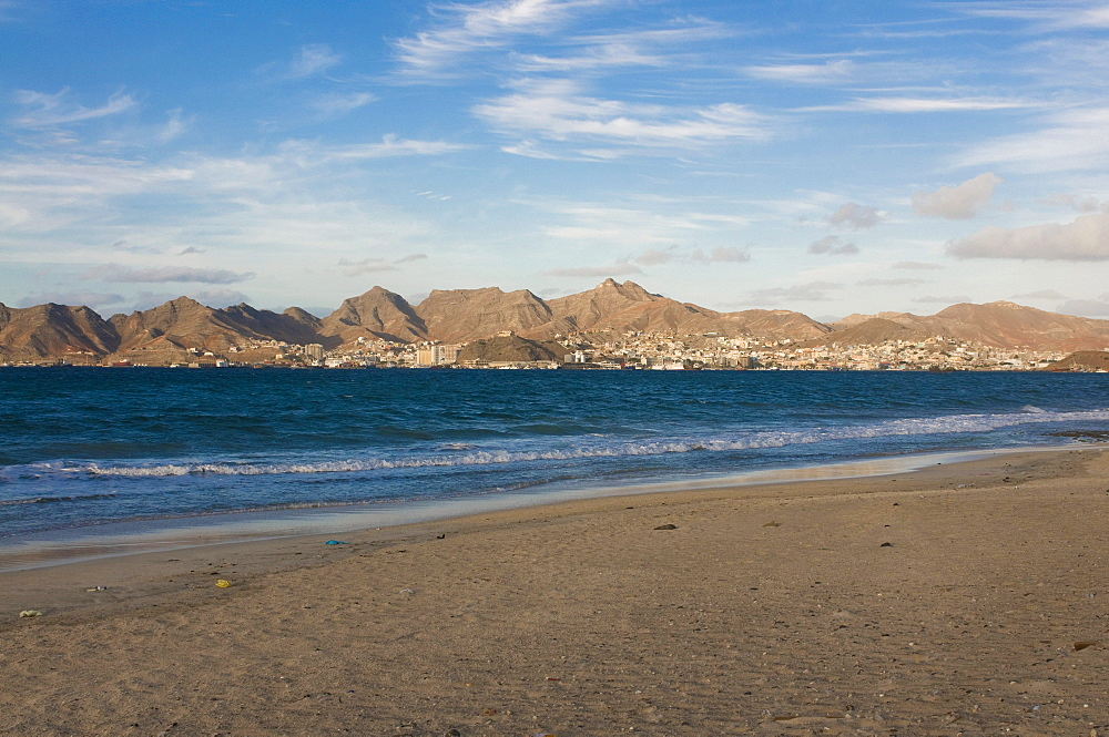 Beach of San Vicente with a view to the city, Mindelo, Cabo Verde, Cape Verde, Africa