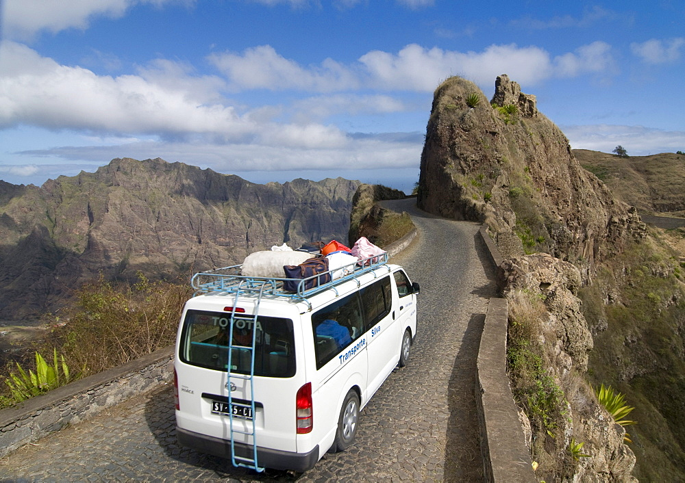 Minibus on a road through rocky landscape, San Antao, Cabo Verde, Cape Verde, Africa