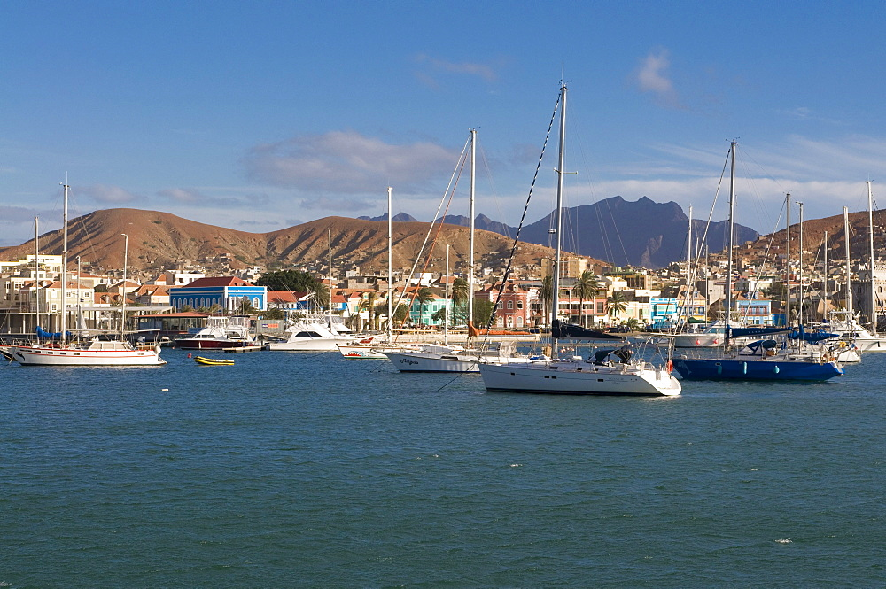 Overlooking the fishing harbor and the city, San Vincente, Mindelo, Cabo Verde, Cape Verde, Africa