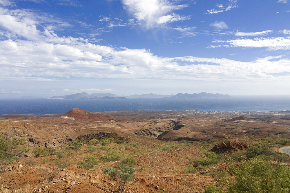 View over landscape with hills, San Antao, Cabo Verde, Cape Verde, Africa