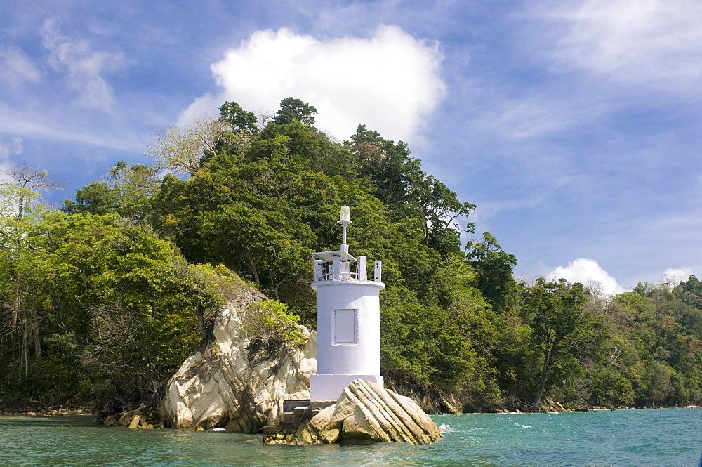 Small lighthouse on the coast, Havelock Island, Andaman Islands, India, Asia