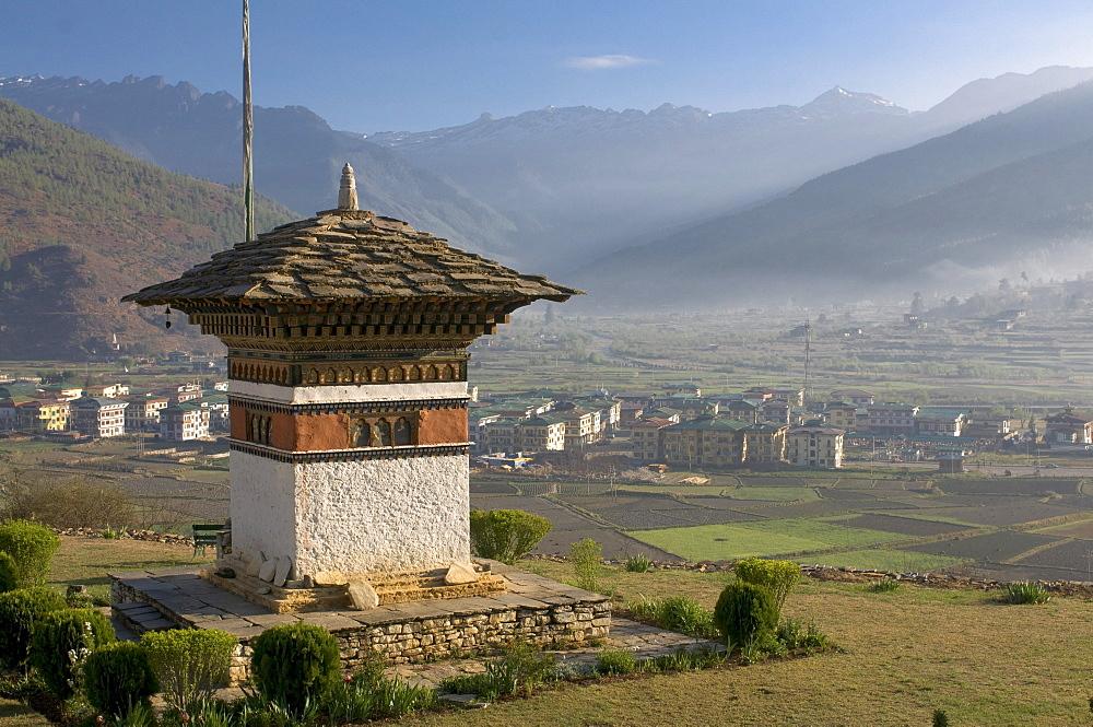 Buddhist stupa above Paro, Bhutan, Asia