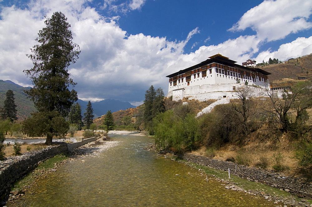 River Paro Chhu and the Tsong of Paro, Bhutan, Asia