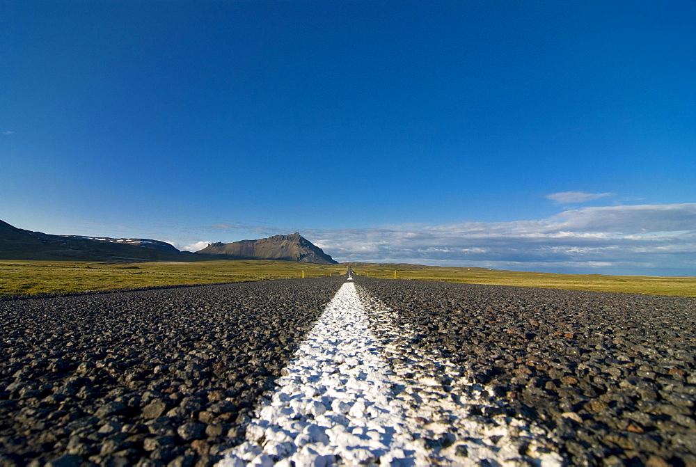 Straight country road, Snaefellsjoeoekull, Iceland, Europe
